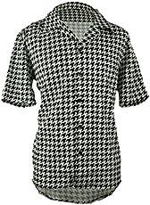 06a5bb9cb4496 Men's Houndstooth Button Down Short Sleeve Shirt (XXXL)