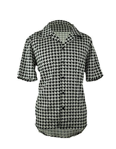 - Sorrick Men's Houndstooth Button Down Short Sleeve Shirt, Black and White Comfortable Lounge Shirt (Medium)