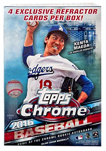 (2016 Topps Chrome MLB Baseball Series Factory Sealed Unopened Box of Packs with 4 Blaster EXCLUSIVE Sepia Refractor Cards)