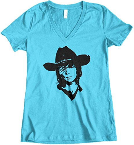 303t-womens-carl-grimes-the-walking-dead-junior-fit-v-neck-large-turquoise