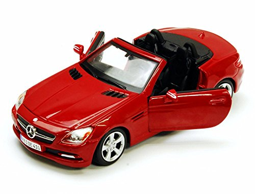2011-mercedes-benz-slk-class-convertible-red-showcasts-34206-1-24-scale-diecast-model-toy-car
