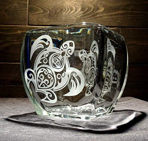 Tribal Sea Turtle Etched Glass Candle Holder ()
