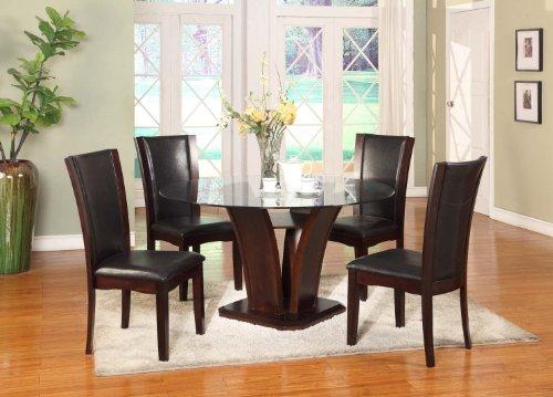 Roundhill Furniture Clar 5-Piece Glass Top Dining Set, Dark Cappuccino (Top 5 Piece Dinette)
