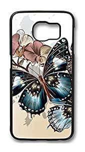 Brian114 Case, S6 Case, Samsung Galaxy S6 Case Cover, Blue Butterflys Retro Protective Hard PC Back Case for S6 ( Black )