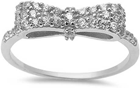 White Cz Bow Tie .925 Sterling Silver Ring Sizes 3-12