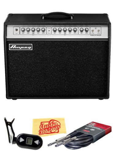 Ampeg GVT52-212 GVT Series 50-Watt 2x12-Inch Guitar Combo Amp Bundle with Tuner, Instrument Cable, and Polishing Cloth