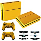 Skins for PS4 Controller - Decals for Playstation 4 Games - Stickers Cover for PS4 Console Sony Playstation Four Accessories Faceplate with Dualshock 4 Two Controllers Skin - Golden
