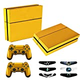 Skins for PS4 Controller – Decals for Playstation 4 Games – Stickers Cover for PS4 Console Sony Playstation Four Accessories PS4 Faceplate with Dualshock 4 Two Controllers Skin – Golden Review