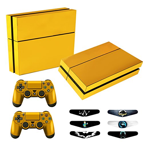 Skins for PS4 Controller - Decals for Playstation 4 Games - Stickers Cover for PS4 Console Sony Playstation Four Accessories Faceplate with Dualshock 4 Two Controllers Skin - Golden from TQS