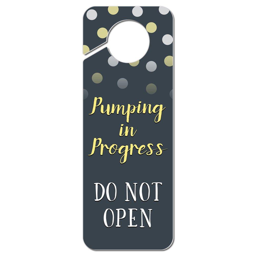 Pumping in Progress Do Not Enter Polka Dots Yellow Plastic Door Knob Hanger Sign