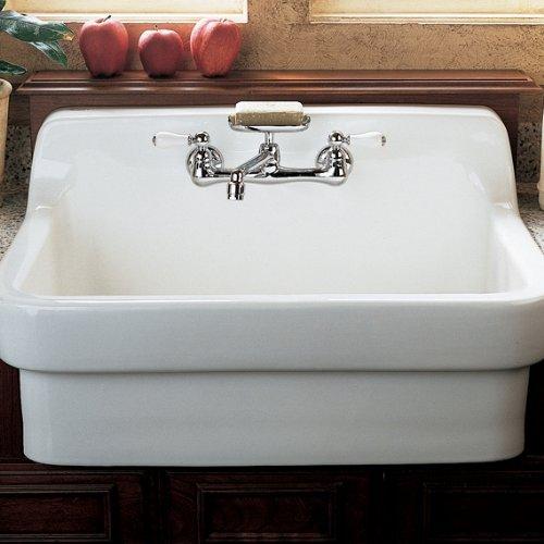 amazoncom american standard heritage wallmount 558inch swivel spout farm sink faucet with porcelain lever handles chrome home