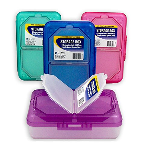 C Line Products Inc 48500 3 Compartment Storage Box Assorted Colors by C-Line