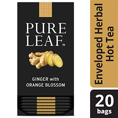 Pure Leaf Ginger with Orange Blossom Enveloped Hot Tea Bags Herbal Caffeine Free, 20 count, Pack of 6