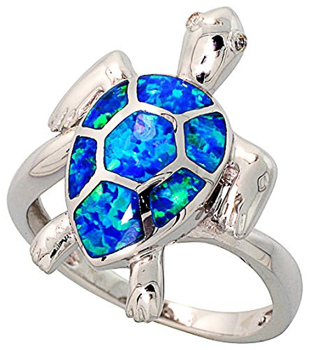 Double Accent Sterling Silver Rhodium Plated, Simulated Opal Inlay Sea Turtle Ring 22mm (Size 6 to 9) Size 9