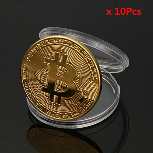 Quartly 1 X Sliver Plated Bitcoin Coin Collectible Gift Btc Coin Art Collection Physical  Gold Sliver   10Xgold
