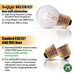 Oven Light Bulbs – 40 Watt Appliance Replacement Bulbs for Oven, Stove, Refrigerator, Microwave. Incandescent - High Temp G45 E26/E27 Socket. Medium Brass Lead-Free Base - 400 Lumens - Clear. 2 Pack 10