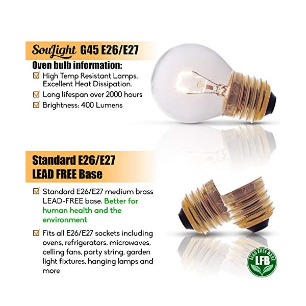Oven Light Bulbs – 40 Watt Appliance Replacement Bulbs for Oven, Stove, Refrigerator, Microwave. Incandescent - High Temp G45 E26/E27 Socket. Medium Brass Lead-Free Base - 400 Lumens - Clear. 2 Pack 5