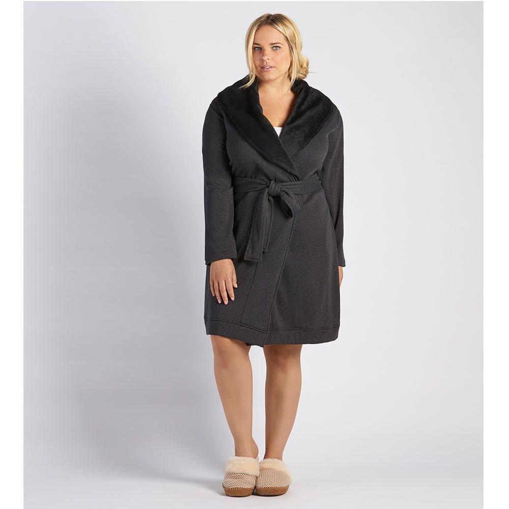 UGG Women's Plus Size Blanche Robe Black Bear Heather Robe 3X