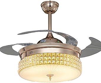 Oro rosa invisible, ventilador de techo, lámpara LED de ventilador ...