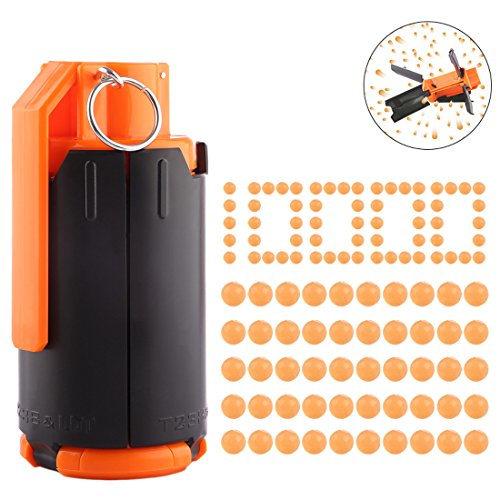 - FenglinTech Tactical Plastic CS Grenade with 10,000PCS Hardened Crystal Water Beads Bullet - (Orange)