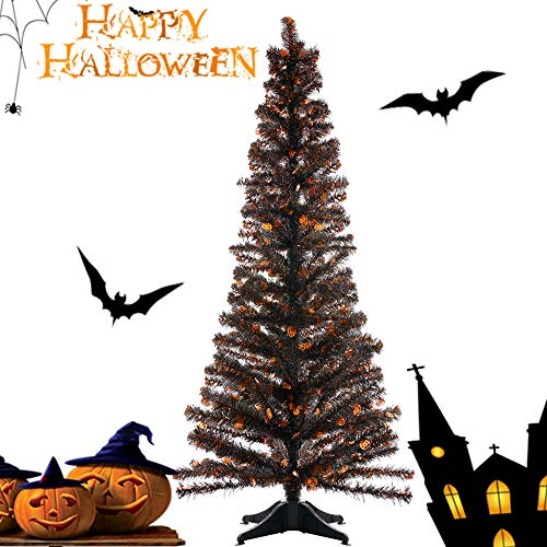 Joy&Leo 5 Foot Pumpkin Sequin Black Tinsel Halloween Tree, Collapsible, Easy to Assemble, for Small Spaces & Apartment & Fireplace & Party & Home & Office & Store & Classroom & Halloween Decorations]()
