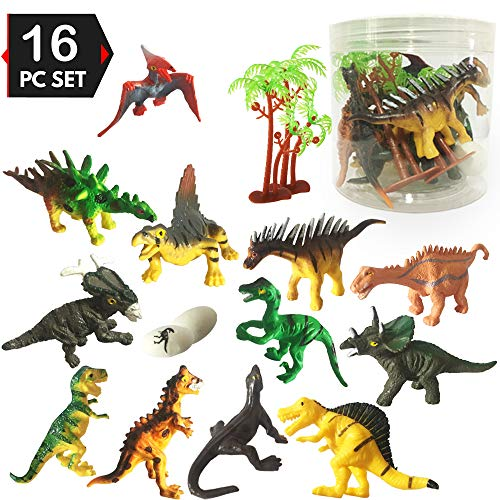 Dinosaur Toys for 3 Year Olds Boys and Girls, Mini Dinosaurs Toys for Cupcake Topper/Birthday Cake Topper Decorations/Dinosaur Theme Party/Easter Egg Filler]()