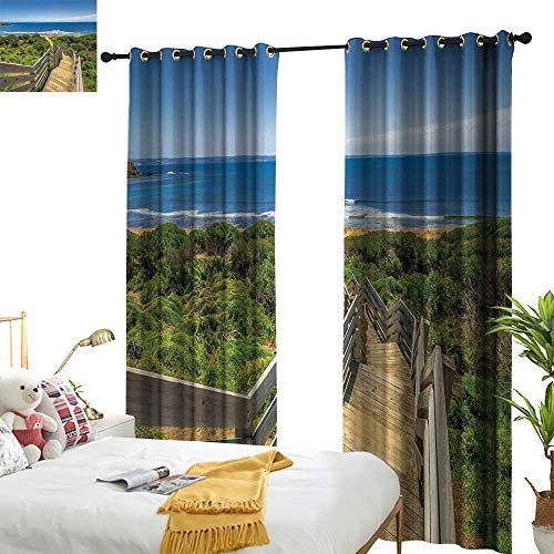 "Littletonhome Beach Blackout Curtains Stairs at Beach in Island Australian Summer Landscape Sun Hot Leisure Travel Home Garden Bedroom Outdoor Indoor Wall Decorations 84"" Wx108 L from Littletonhome"