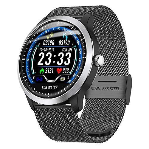 SHWBJ Smart Watches Fitness Trackers Watch Smartwatch Band Heart Rate Monitor Bracelet Sports ECG+PPG HRV Report Blood Pressure Test IP67 (The Man To Send Rain Clouds Analysis)