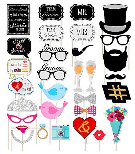31pcs Wedding Photo Booth Props Bridal Shower Engagement Bachelorette Party Photo Prop DIY Bride & Groom MR. MRS. Mustache Hats Glasses Decor Mask