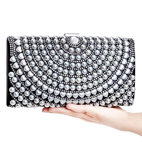 Clutch Chain Handbag Bags Womens Dress Wedding Black Pearls Purse For Evening qx7X0tdX