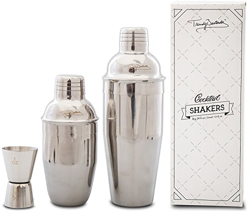 Premium Cocktail Shaker Set - 2 Professional Stainless Steel Martini Shakers (12 Ounce and 24 Ounce) - Built-In Strainer - Double Jigger Included - Bonus Cocktail Recipe eBook