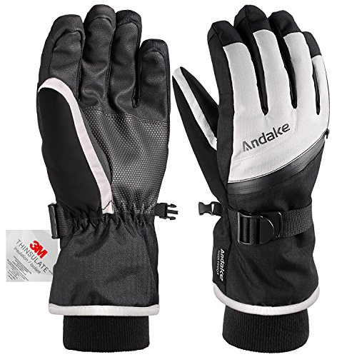 Andake Ski Gloves, Touchscreen 3M Thinsulate Waterproof TPU Membrane Women's Winter Gloves with Non-Slip PU Palms, Zippered Pocket and Adjustable Wrist for skiing, snowboarding, climbing and skating