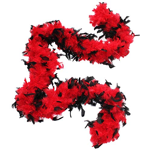 Cynthia's Feathers 80g Chandelle Feather Boa (Red/Black tips)