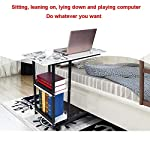 SIDE TABLE WITH LOCKABLE WHEELS – MOVABLE PORTABLE OVER BED DESK, COMPUTER WORKSTATION ROLLING STUDY PC LAPTOP TABLE FOR HOME OFFICE SOFA – SIT-STAND DESK, SOFA END TABLE WITH 2-TIER BOOKSHELF