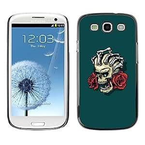 Samsung Galaxy S3 , Floral Skull & Hand - Cáscara Funda Case Caso De Plástico