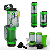 Intelishake - Smart Multi-Compartment Protein/Workout/Juice Shaker bottle (2 x 500ml) with water carbon filter for Sports, Exercise & Gym