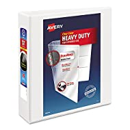 "Avery Heavy-Duty Nonstick View Binder, 2"" One Touch Slant Rings, 500-Sheet Capacity, DuraHinge, White (05504)"