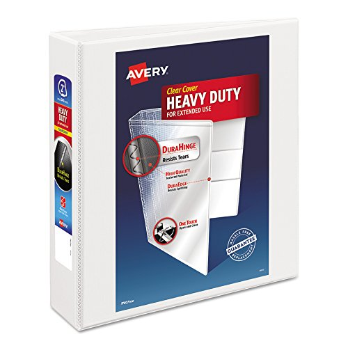 (Avery Heavy-Duty Nonstick View Binder, 2 One Touch Slant Rings, 500-Sheet Capacity, DuraHinge, White (05504))