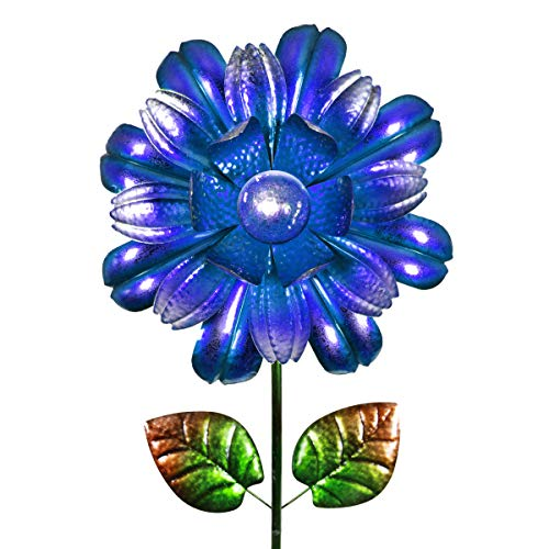 Exhart Solar Bloom Stake - Metal Flower Garden Stake with Solar Garden Lights, Flower Decor Metal Garden Spinner in Blue & Green Lacquered Colors, 10.2