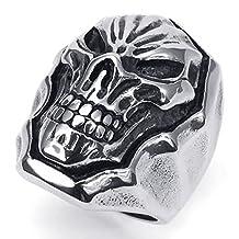 Anazoz Silver Black Retro Punk Style Stainless Steel Cool Gothic Skull Ring Men