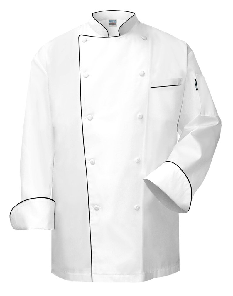 Newchef Fashion VIP White Chef Coat with Black Trim VIP Pocket 2XL White