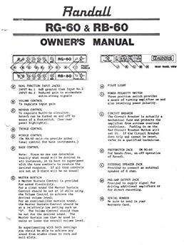 randall instruments rg 60 rb 60 amp amplifier owner s manual rh amazon com Repair Manuals User Manual