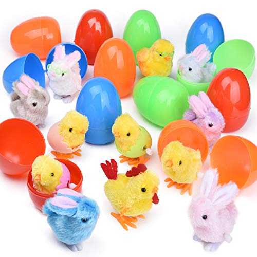 12 PCs Filled Easter Eggs with Wind Up Toys Chicks & Bunnies, 3.74