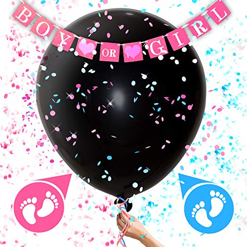 Gender Reveal Confetti Balloon – Pink and Blue Confetti Balloon – Balloon for Baby Shower – Giant Black Balloon for Gender Reveal -