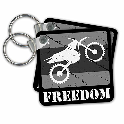 3dRose Black and White Distressed Dirt Bike Freedom Vector Graphic Image Key Chains, Set of 2 (kc_180541_1)