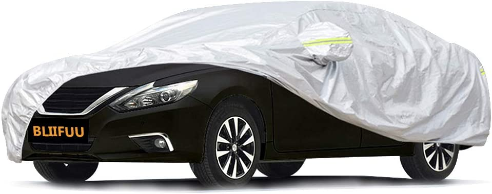 "Bliifuu Sedan Car Cover Waterproof/Windproof/Snowproof/Sun UV Protection for Outdoor Indoor, Breathable Full Car Cover Fit Sedan 197"" L x 70"" W x 59"" H"