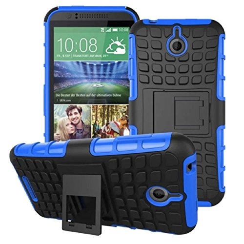Mokingtop® Fashion Dual Layer 2 in 1 Rugged Hybrid Hard Case for HTC Desire 510 (Blue)