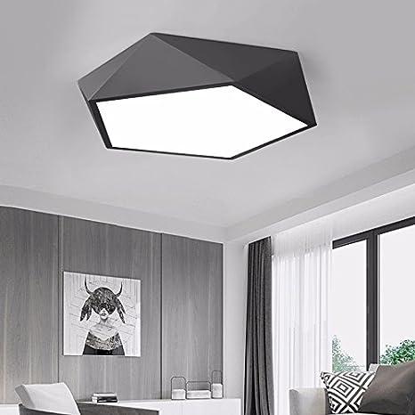 Led luce di Soffitto Camera da letto moderna luce semplice personalità creative Soggiorno di studio di forma geometrica lampada 420 * 420 * 120mm, nero [Classe di efficienza energetica A++] GQLB