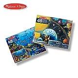 Melissa & Doug Jumbo Jigsaw Floor Puzzle Set - Solar System and Underwater (2 x 3 Feet Each, 48 Pieces Each)