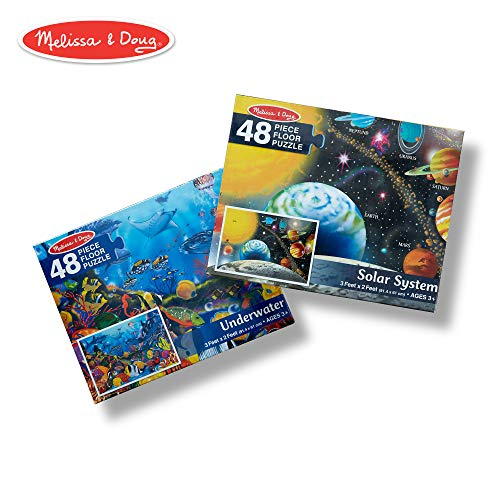 Melissa & Doug Jumbo Jigsaw Floor Puzzle Set - Solar System and Underwater (2 x 3 Feet Each, 48 Pieces Each) -